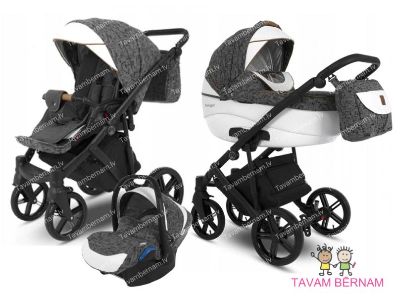 Camarelo Avenger plus 3-1 Av+1 (pelēka / balta) rati jaundzimušajiem trīs vienā